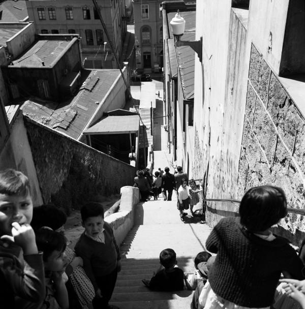 Escalera Cienfuegos y ascensor cerro Cordillera, c. 1950