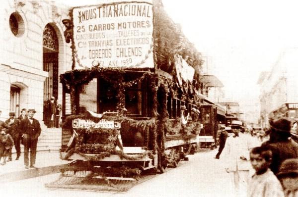 Tranvías refaccionados en Chile, c. 1920.