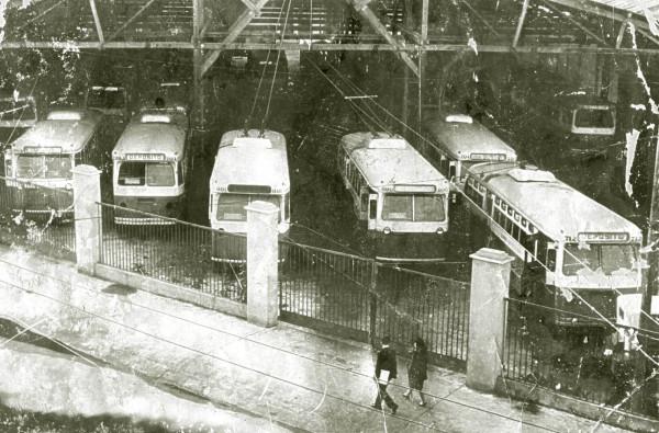 Depósito de troles calle Independencia, c. 1970.