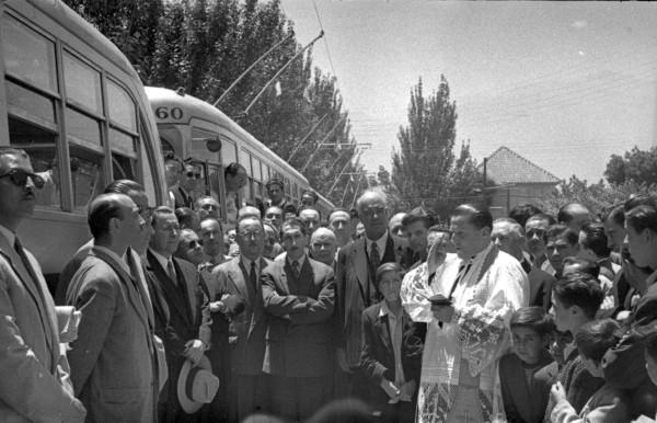 Inauguración línea de trolebuses ENT a Ñuñoa, 1952.